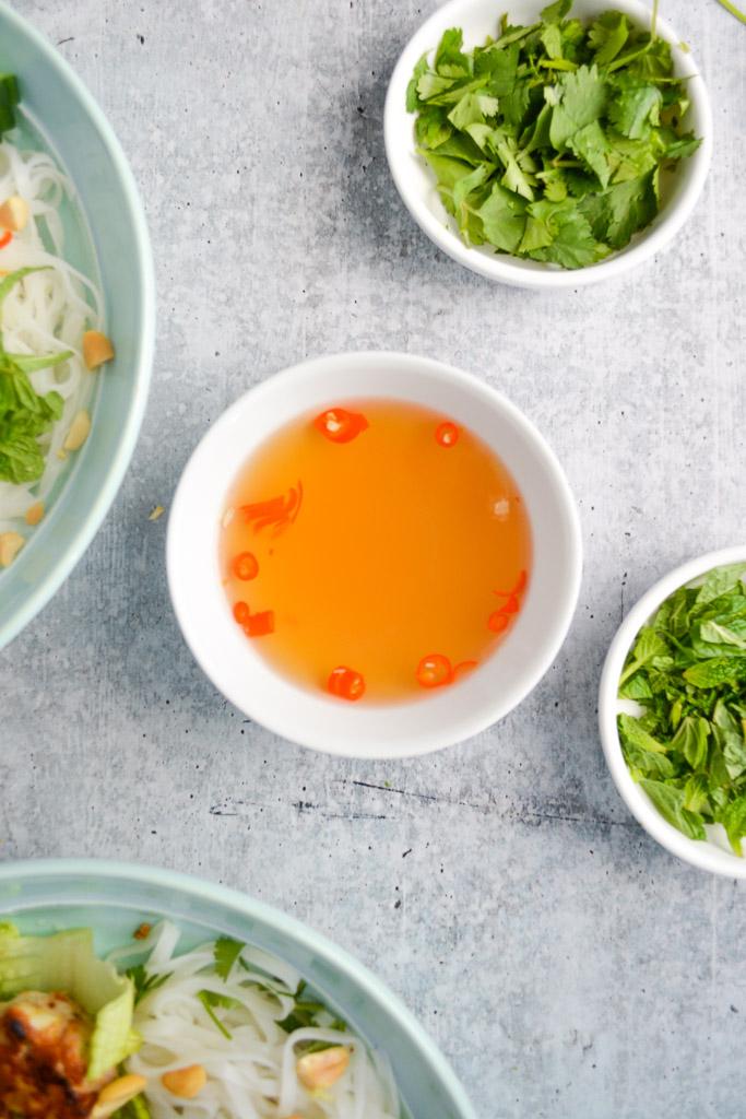 Vietnamese Noodle Bowls with Lemongrass Meatballs