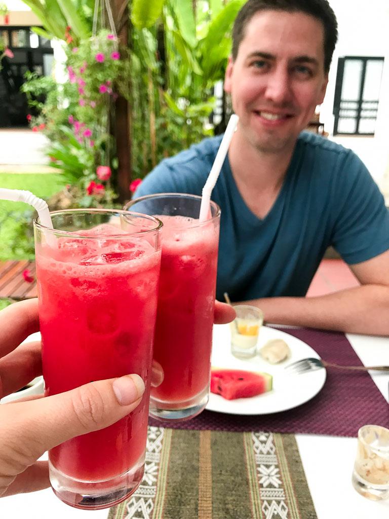 Fresh watermelon juice for breakfast at Ha An Hotel in Hoi An, Vietnam