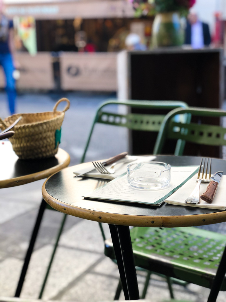 Classic outdoor bistro chairs in Paris, France