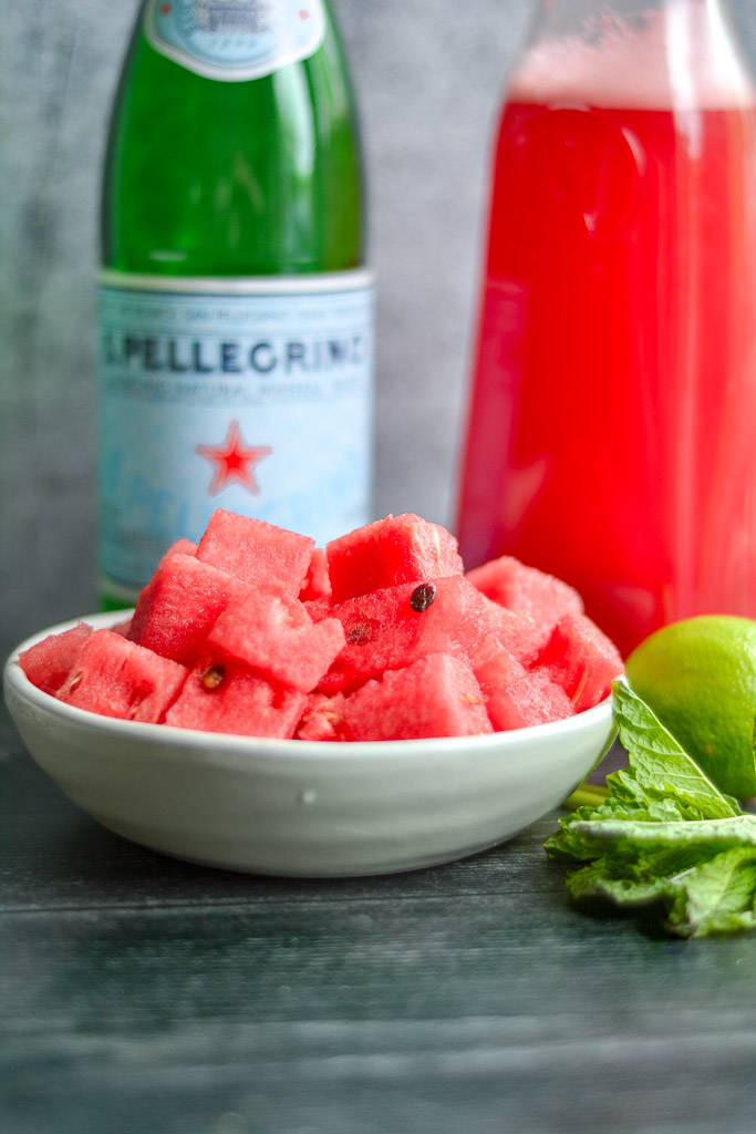 Fresh cut watermelon cubes with blended watermelon juice