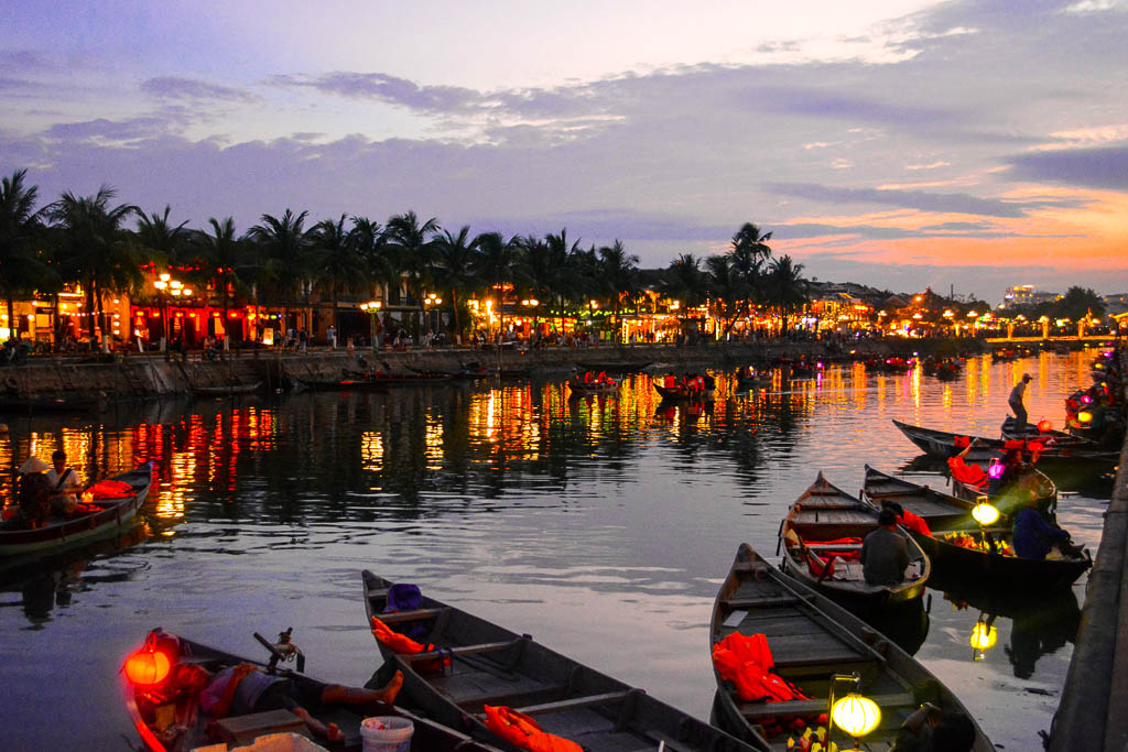 Riverside of Hoi An at sunset