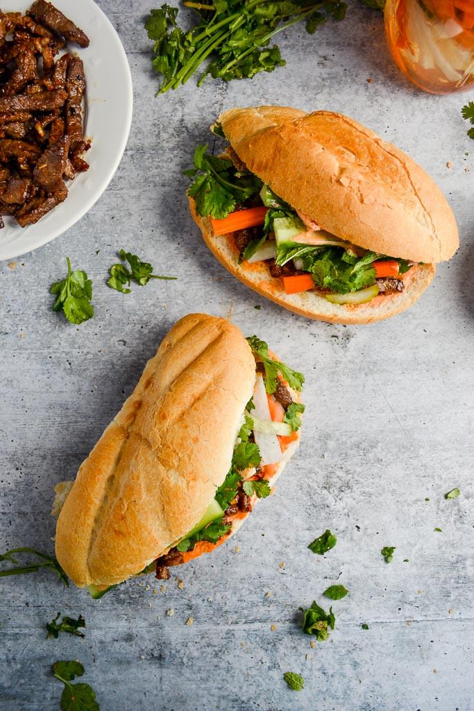 Lemongrass Beef Banh Mi Sandwiches