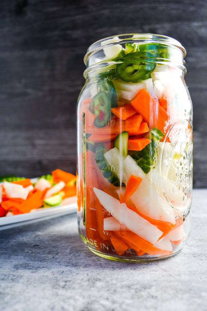 Pickled carrots, daikon, cucumber, and jalapenos