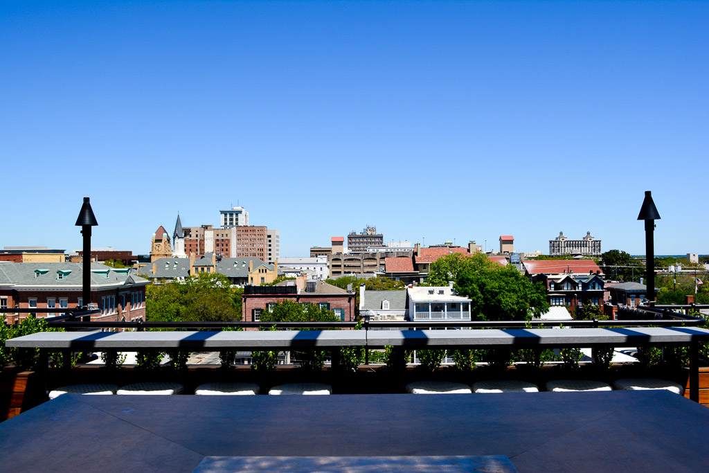 View of the Savannah Historic District from the Peregrin rooftop lounge