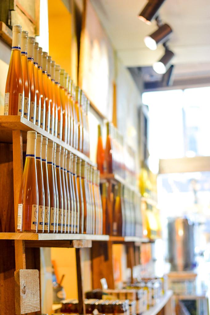 Wall of mead at Savannah Bee Company