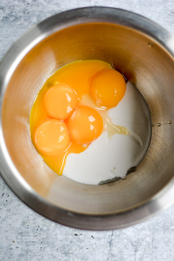 Egg yolks mixed with caster sugar and cornstarch