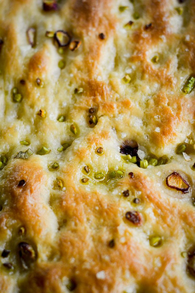 Golden crust of Garlic Scape & Spring Onion Focaccia