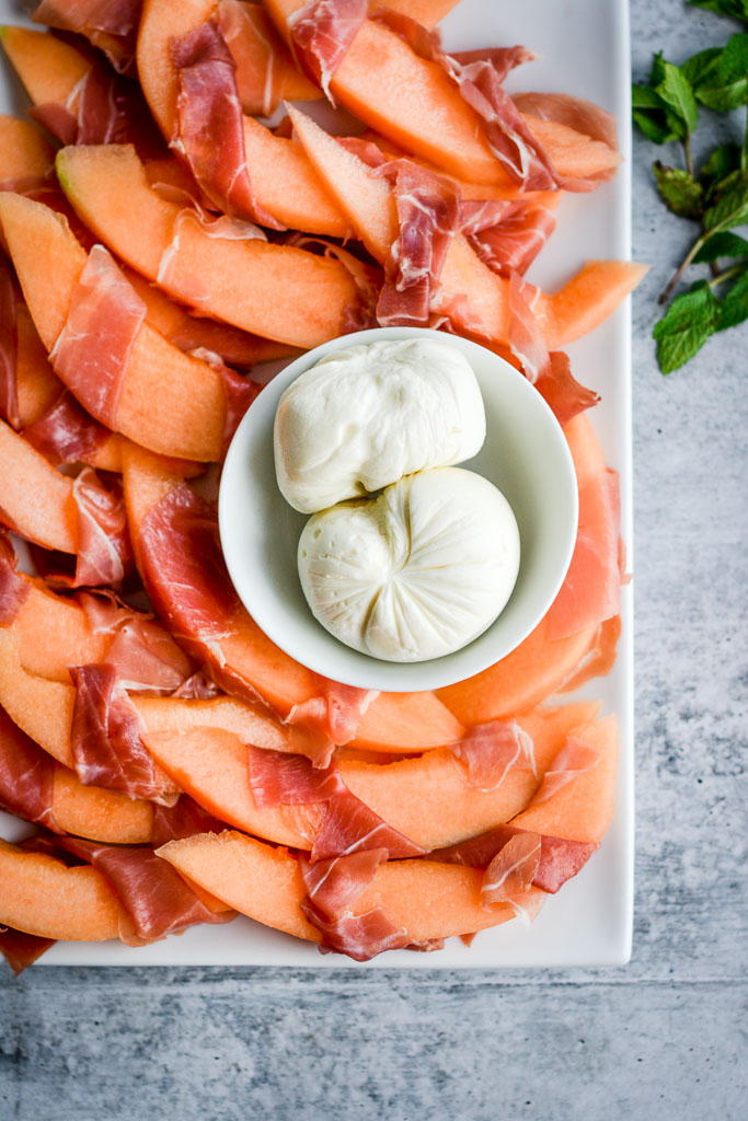 Fresh mozzarella, Prosciutto, and Cantaloupe