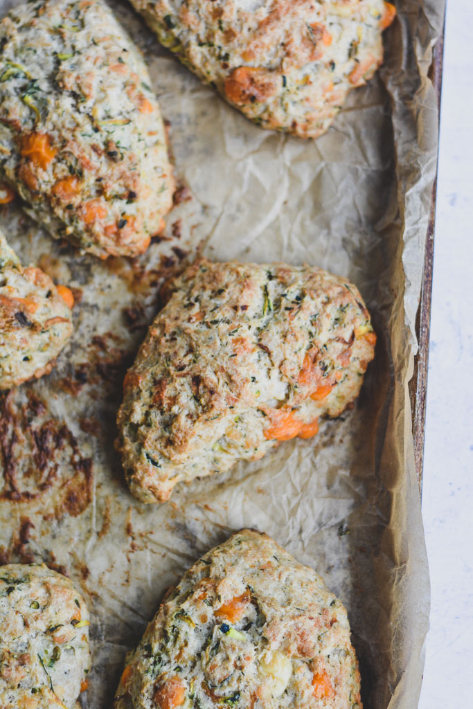 Baked Zucchini and Herb Savory Scones