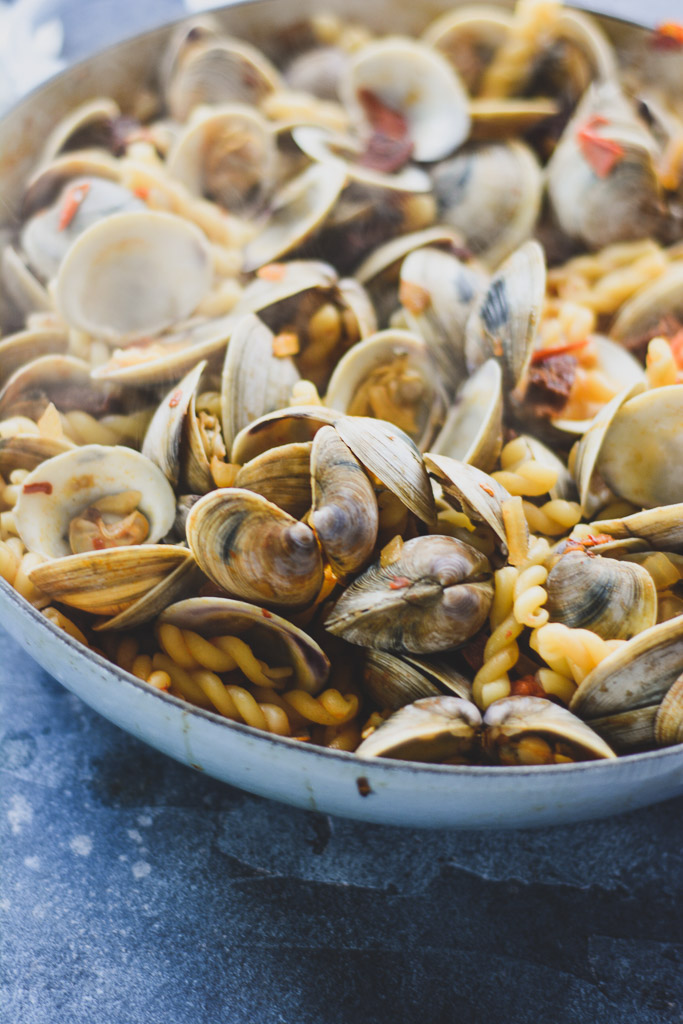Steamed clams with pasta and chorizo