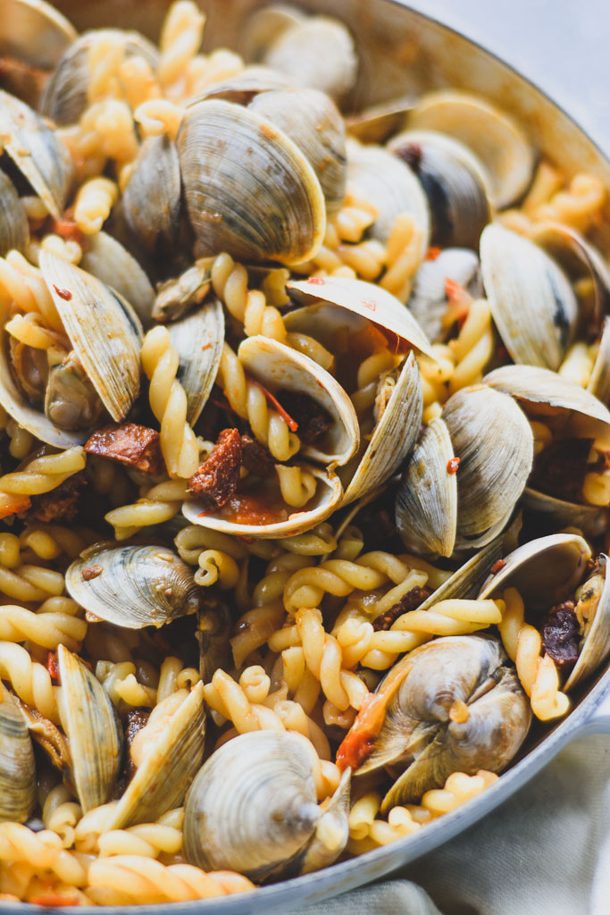 Clams, chorizo, and pasta