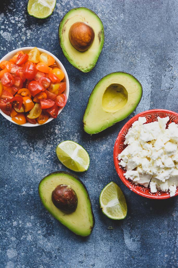 Avocados, Limes, Cherry Tomatoes, and Feta