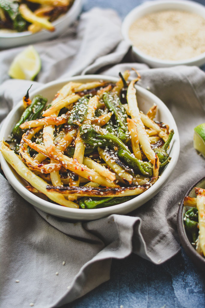 Sesame Miso Shishito Peppers and White Green Beans