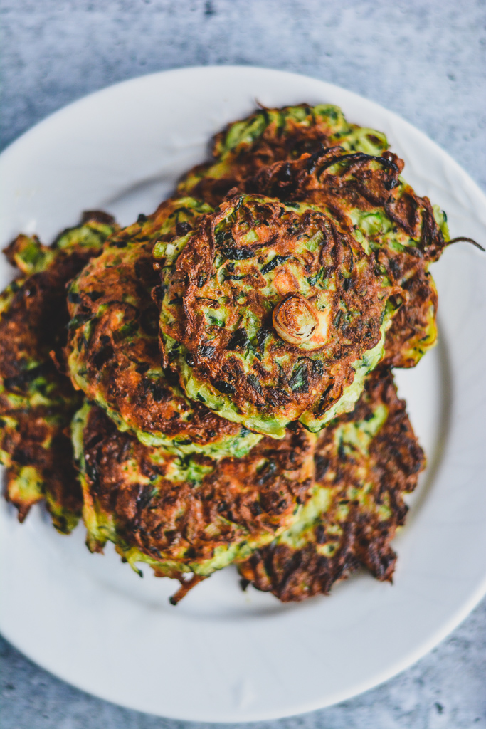 Freshly pan fried zucchini fritters