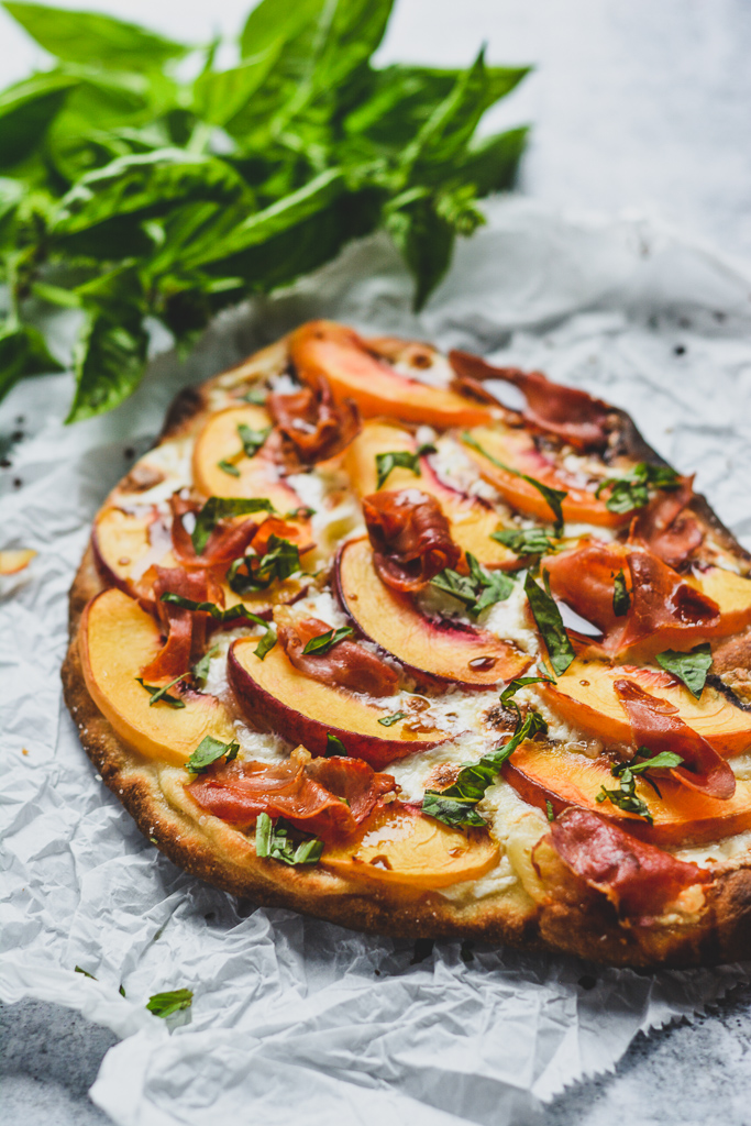Peach and Prosciutto Pizza