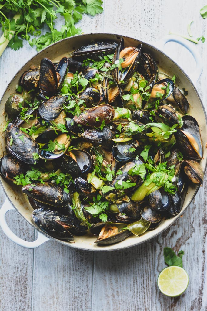 Green Curry Mussels with Thai Eggplant