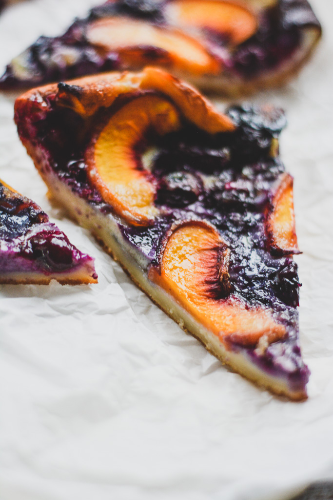 Peach and Blueberry Flaugnarde