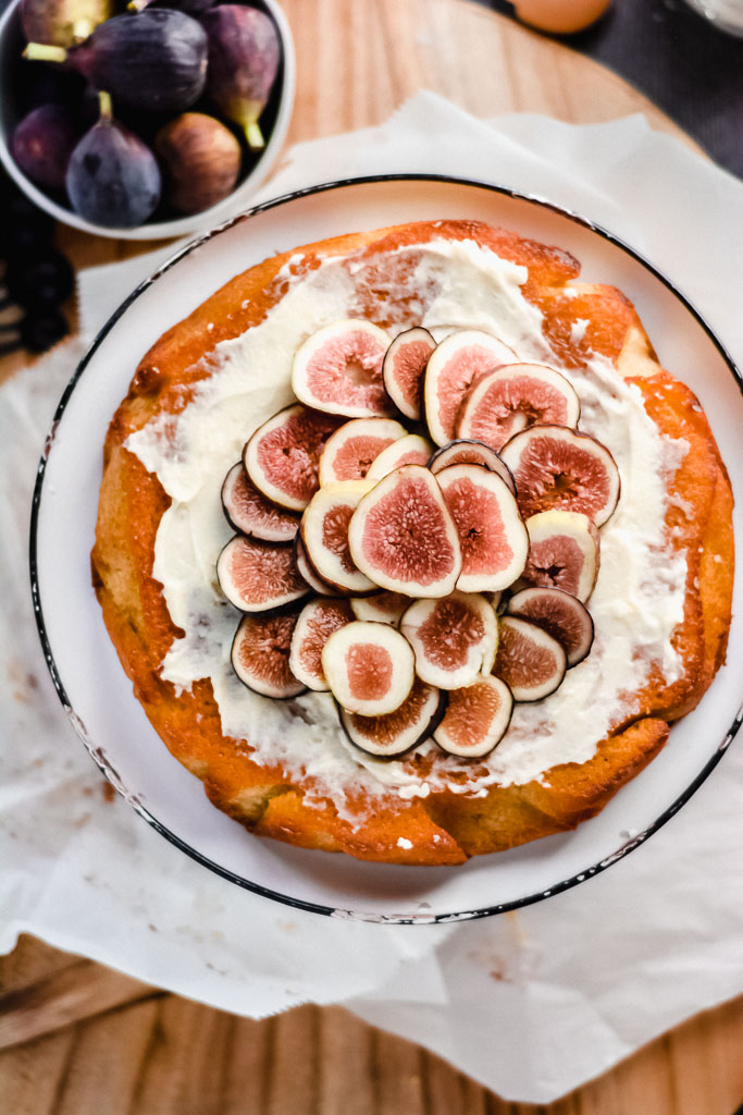 Italian olive oil cake topped with honeyed mascarpone and fresh figs