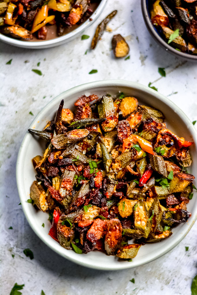 Smoky Cajun Baked Okra with Peppers and Bacon