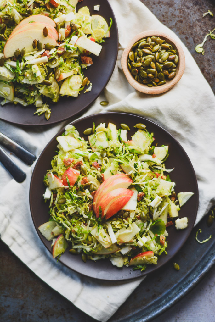Shaved Brussels Sprouts Salad with Honeycrisp Apples & Crispy Pepitas