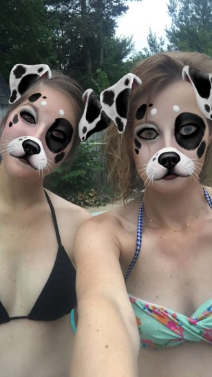 Kelly and I had fun with Snapchat filters at the pool on Saturday.