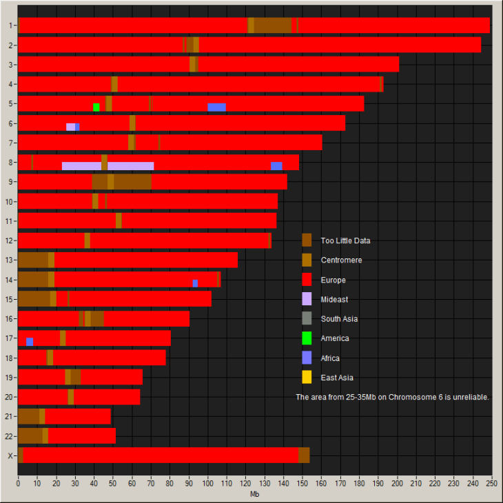 autosomal DNA analysis chart mainly europe with some amount of middle east and africa