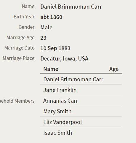 Daniel B Carr and Mary Smith marriage