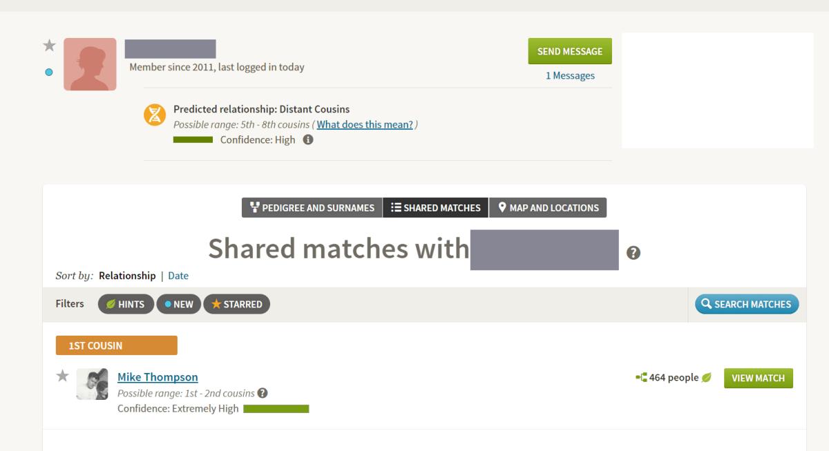 elmore relative shared match