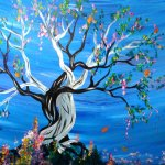 intertwined trees painted by spitenmalice at deviant art