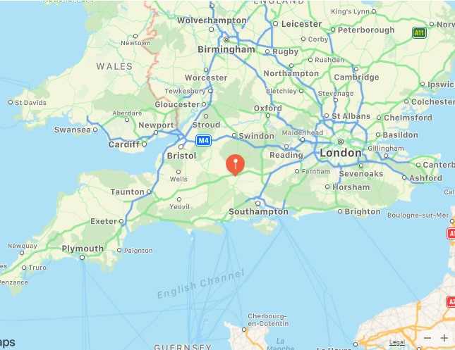 Amesbury Down pin on map southern England.
