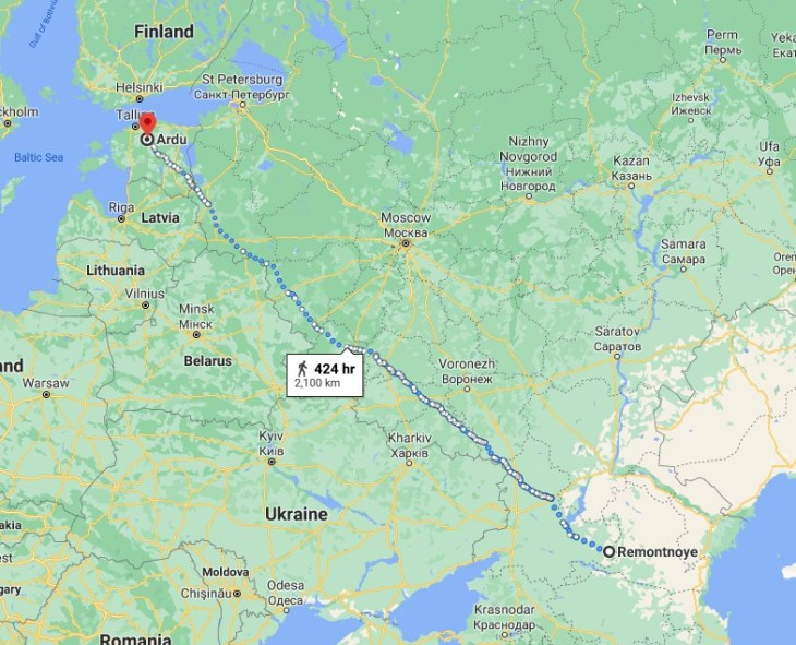 Remontnoye to Ardu is roughly 2100 km