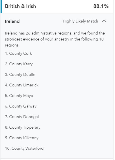 Ancestry compostion from 23 and me for Cheryl. 81% British and Irish with an affinity for Cork.