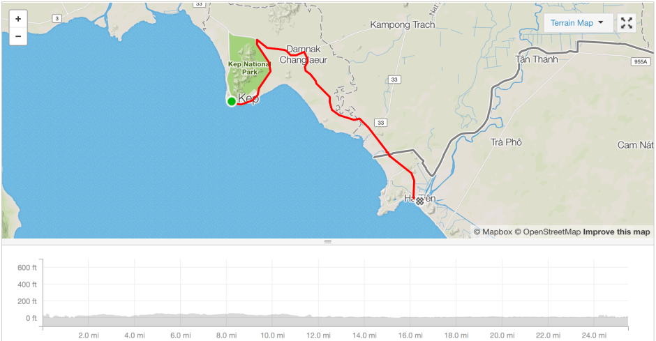 Kep (Cambodia) to Ha Tien (Vietnam) cycle route strava