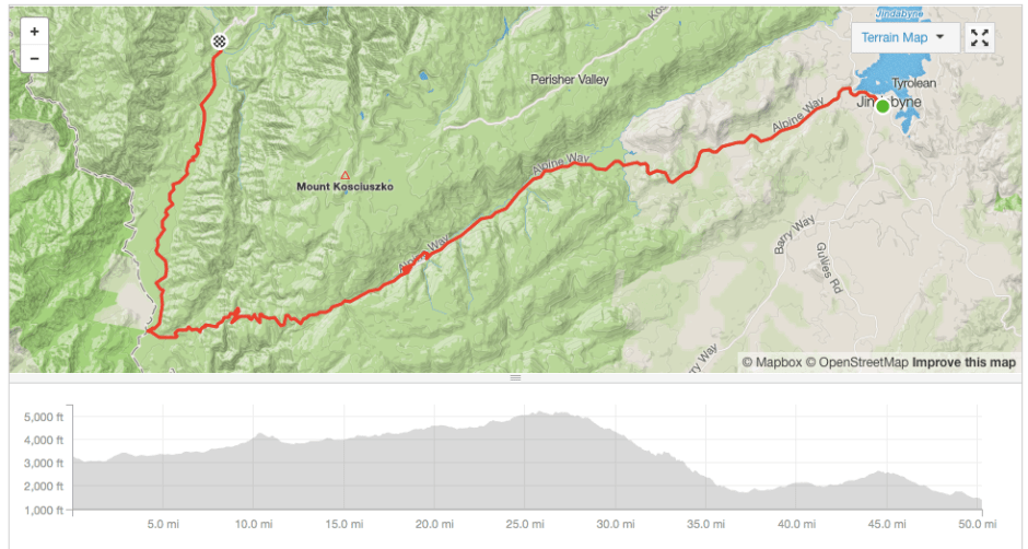 Jindabyne to Geehi cycling route Strava