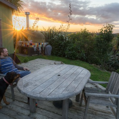 sunset, deck, garden, pizza oven, New Zealand