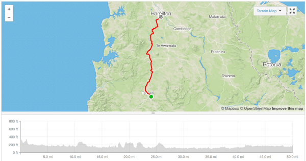 Te Kuiti to Hamilton cycle route Strava