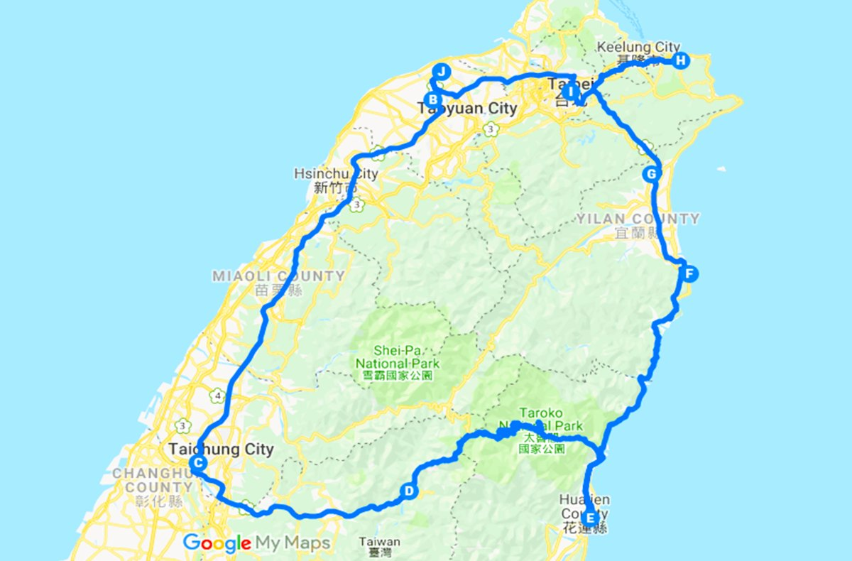 Taiwan Road Trip Driving Road Map