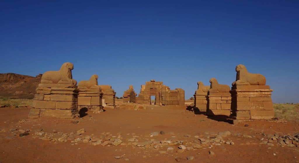 The amazing colonnade of rams at Naqa is a must see during your visit of Sudan