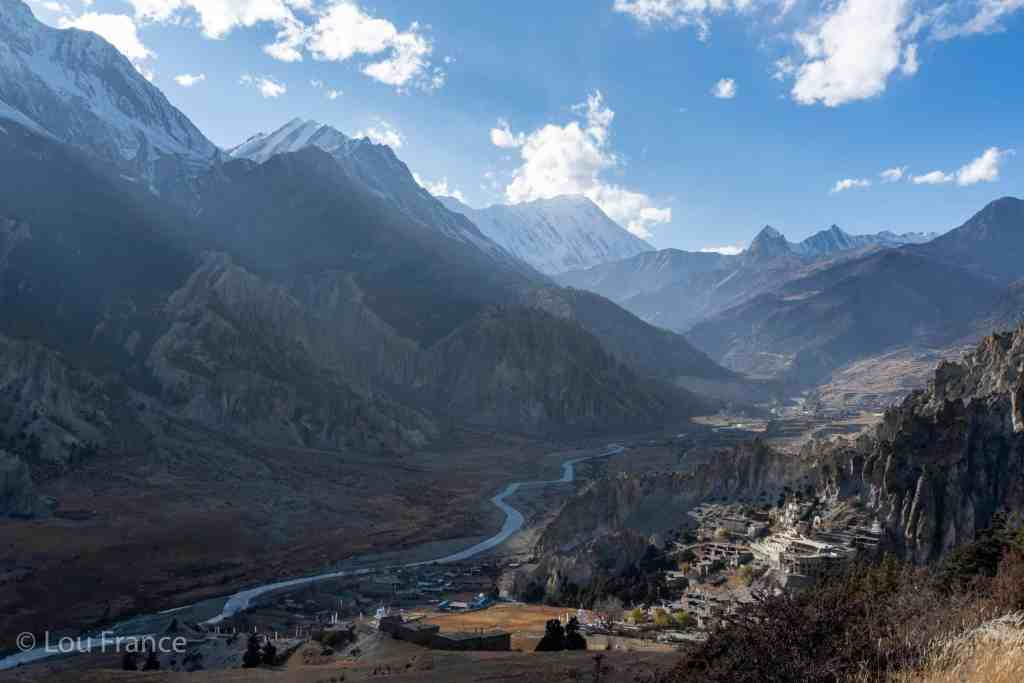 View of Manang valley from the ice lake trek