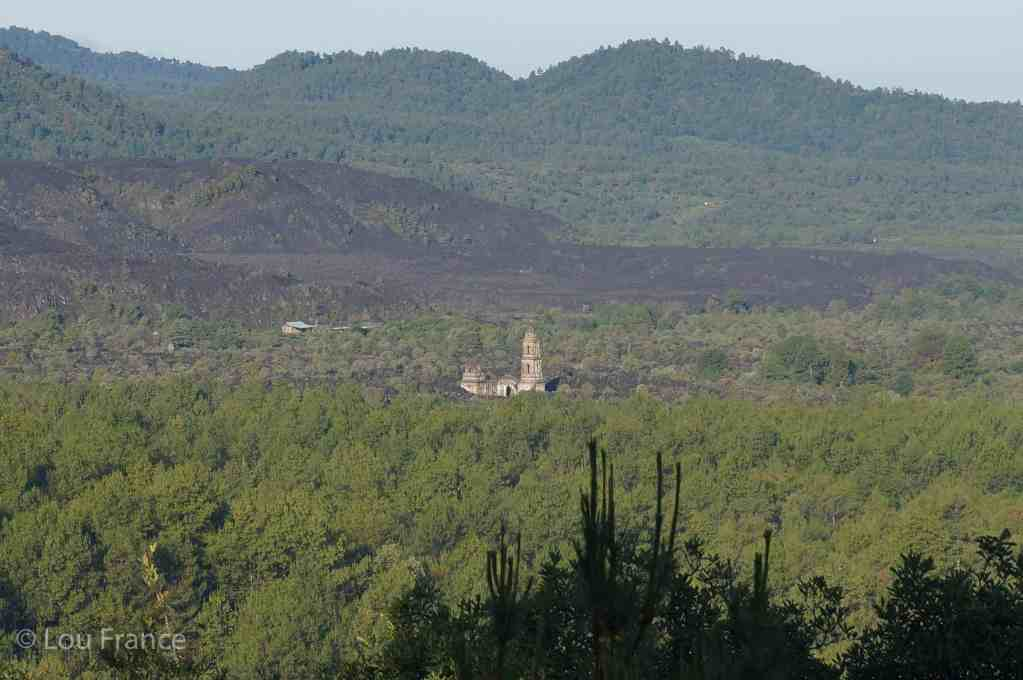 See the buried church on a visit to Paricutin volcano