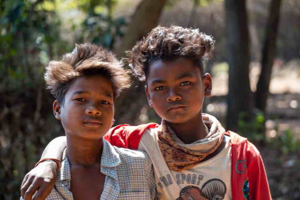 Boys show off their Bollywood hair styles on our tour of India