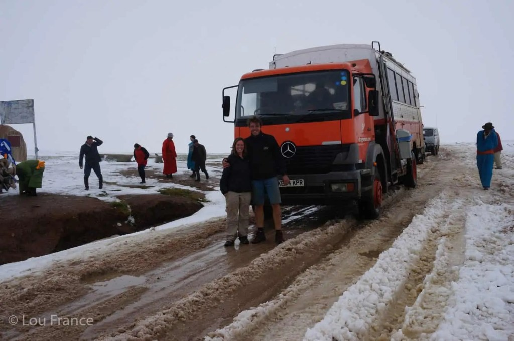 Crossing a snowy pass on our Mongolia travel blog story