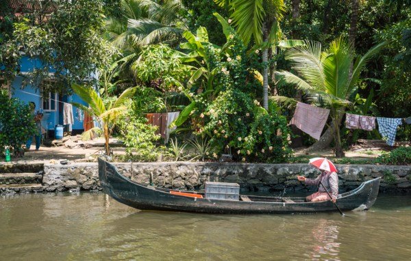 Canoe on the Backwaters of Kerala, India