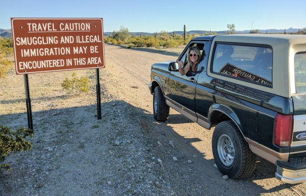 Smuggling & Illegal Immigration Sign (Sonoran Desert, Phoenix, Arizona)
