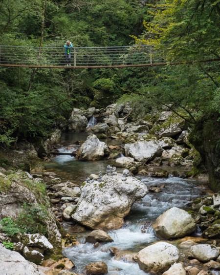 Suspension Bridge in Tolmin Gorges, Slovenia by Wandering Wheatleys