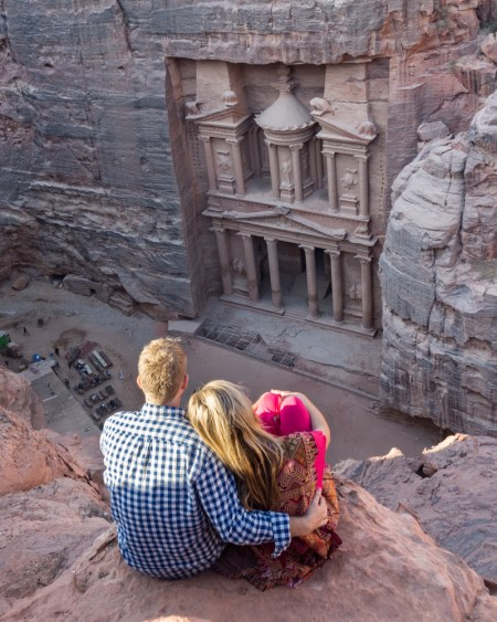 Views from above of the Treasury at Petra, Jordan by Wandering Wheatleys