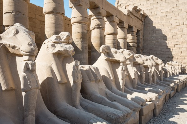 Rams Head Sphinxes in the Karnak Temple, Luxor, Egypt by Wandering Wheatleys