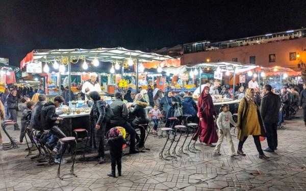 Food stalls in Jemaa El-Fnaa, Marrakech, Morocco by Wandering Wheatleys