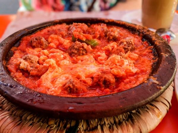 Kefta (meatballs), tomato, & eggs Tagine, Morocco by Wandering Wheatleys