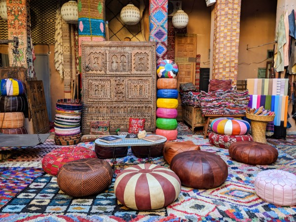 Leather cushions in the souk, Marrakesh, Morocco by Wandering Wheatleys